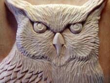 Detail of the carved owl.