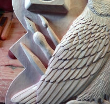 Detail of the owl's wing.