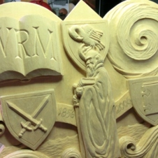 Detial of St. Paul in the center of the carving.