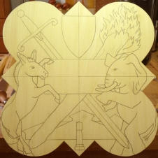 The drawing transferred to the wood.