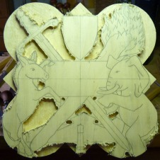 The background roughed out with a router.