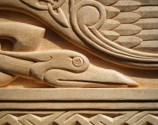 Detail of Celtic interlaced birds.