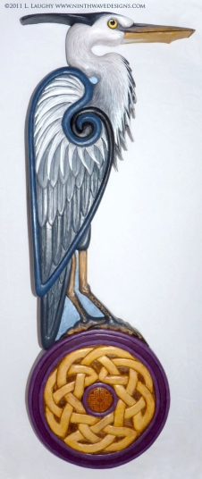 "Celtic heron: 20.5"" x 7"" x 1"" hand carved in basswood, painted finish."