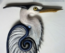 Celtic heron detail of the head.