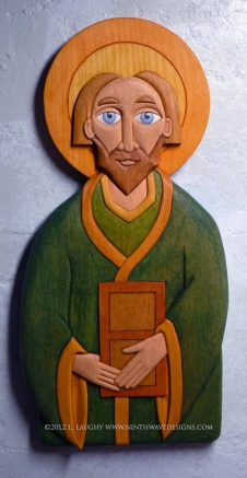 "St. Patrick carved wall hanging: 14.5"" high by 7"" wide by 1"" thick. Hand carved basswood with oil stained finish."