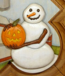 Detail of the painted snowman.