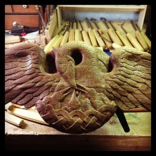 The pelican carving is complete!
