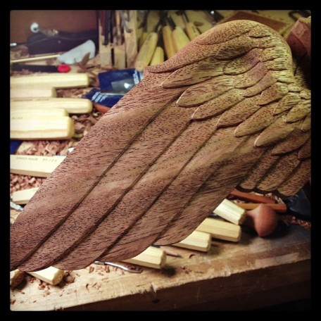 Carving completed on the left wing - now it's time to start working on the right one.