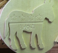 "The Democratic donkey symbol with ""1962"" – representing Secretary of State John Kerry's run for president."