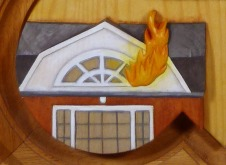 Detail of the 1999 plaque - the Drury dorm fire.