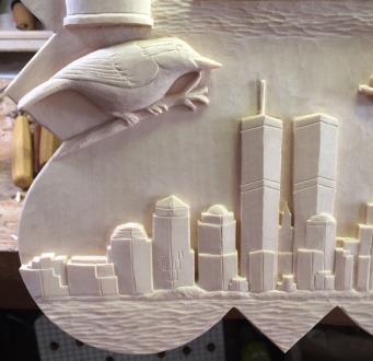 Nuthatch and Manhattan skyline.