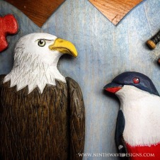 Painted details on the eagle and trogan bird.