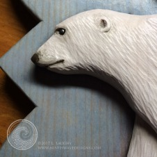 Painted detail on the poar bear.