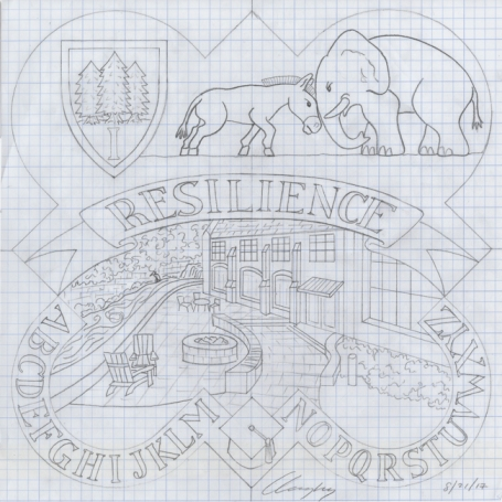 The completed design drawing for the 2017 form plaque.